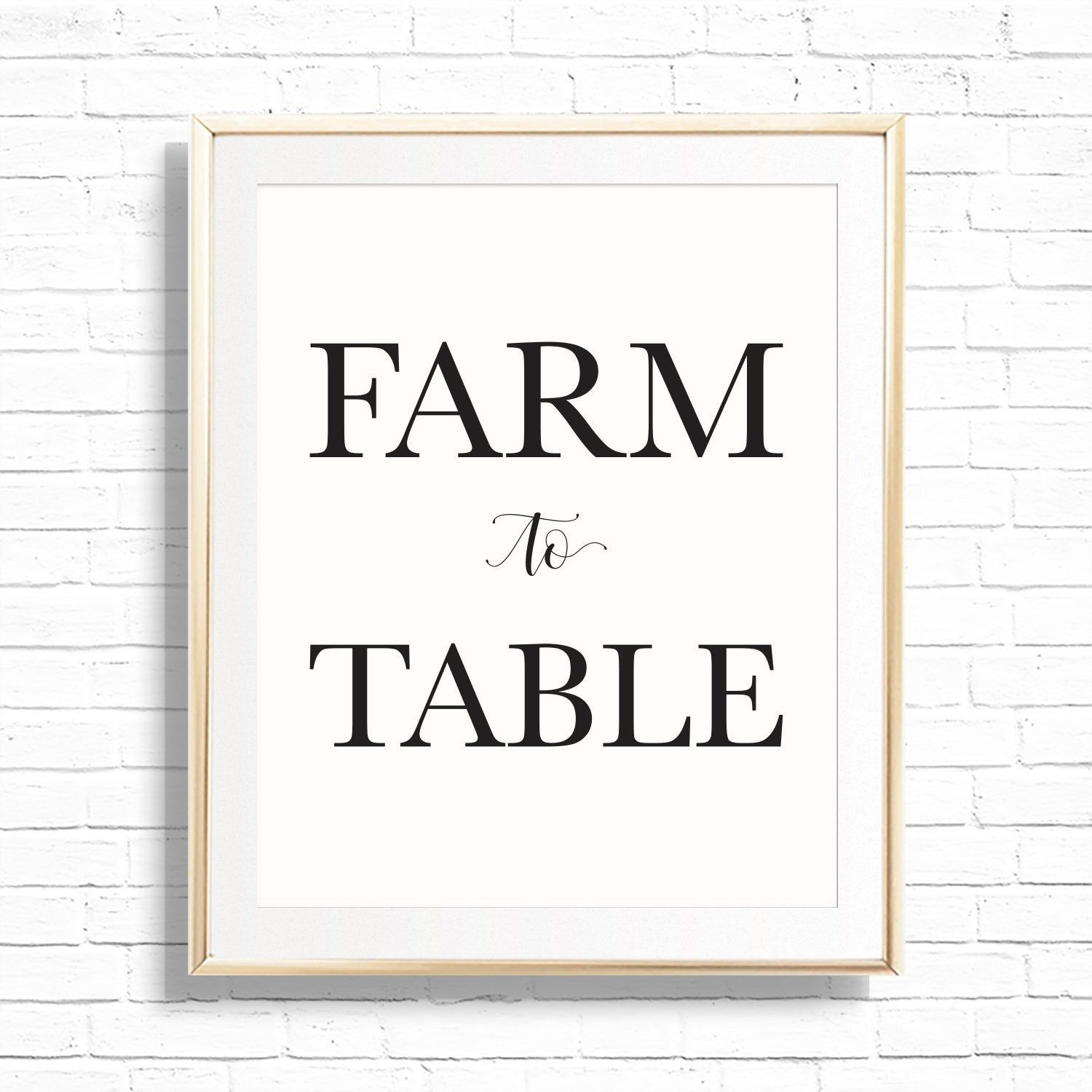 farm to table kitchen art print printable 8x10 farmhouse style quote decor sign dining room on kitchen quotes printable id=32778