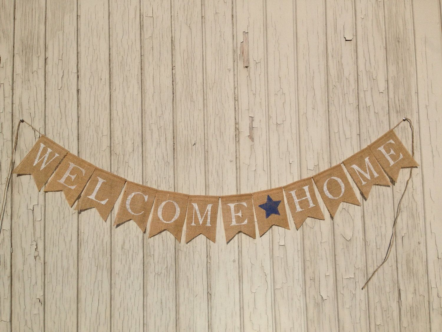 WELCOME HOME Banner, Patriotic Burlap Banner, Military Homecoming ...