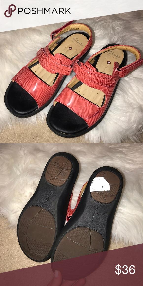 356897eca17 CLARKS peach patent leather sandals Size 7 1 2 peach coral shiny leather  sandal never worn Clarks Shoes Sandals