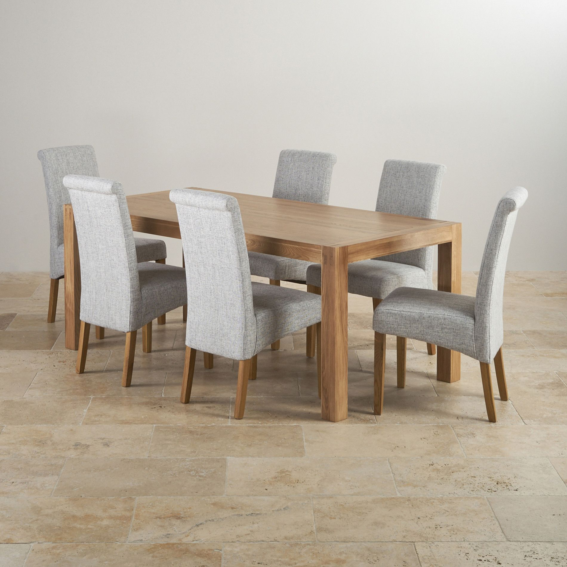 Alto Natural Solid Oak Dining Set 6ft Table With 6 Scroll Back Plain Grey Fabric Chairs Oak Dining Sets Kitchen Table Oak Black Wood Kitchen Table