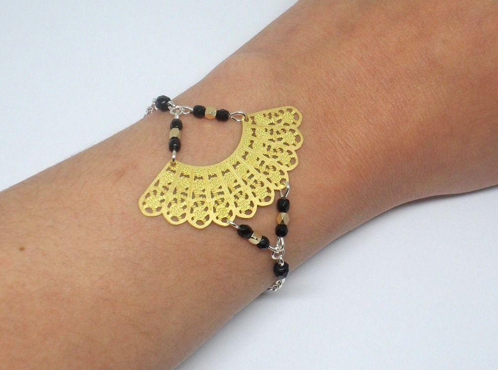 Bracelet éventail doré noir argenté asiatique Asie Japon japonisant feuille chic Noël Nouvel An estampes perles : Bracelet par odacassie