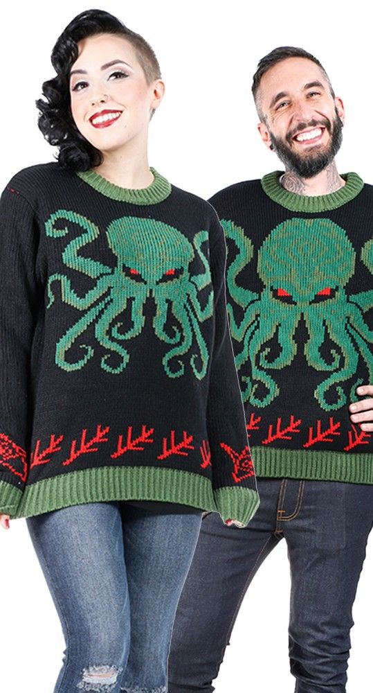 Call upon the dark lord Cthulhu to save your wardrobe from boring, basic Ugly Christmas sweaters! #blamebetty #cthulhu #christmas
