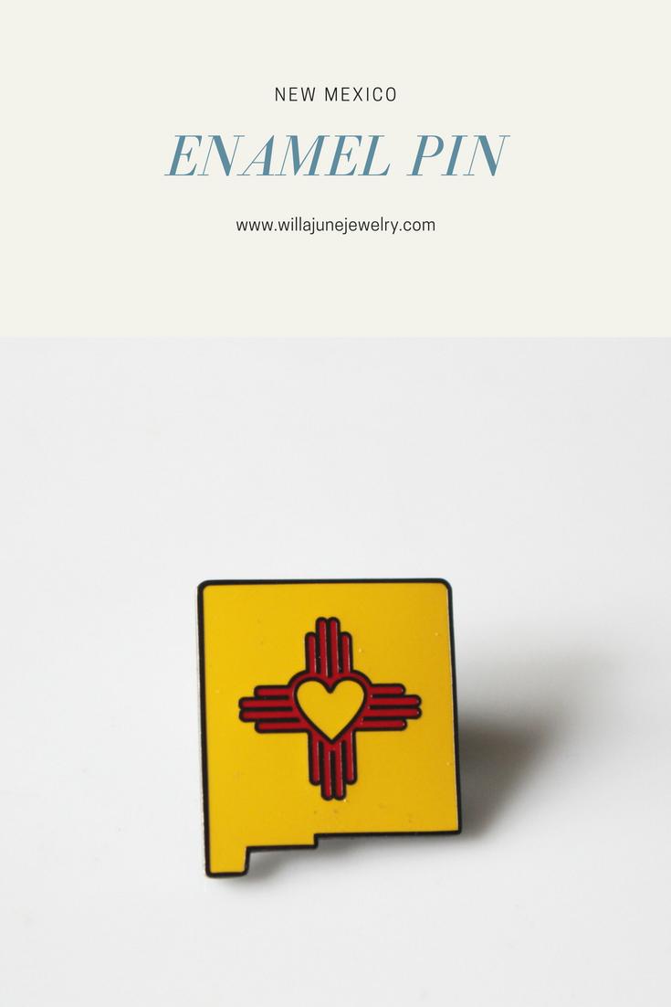 New Mexico Zia Enamel Pin Heart Zia New Mexico State Pin Etsy Enamel Pins New Mexico Pin