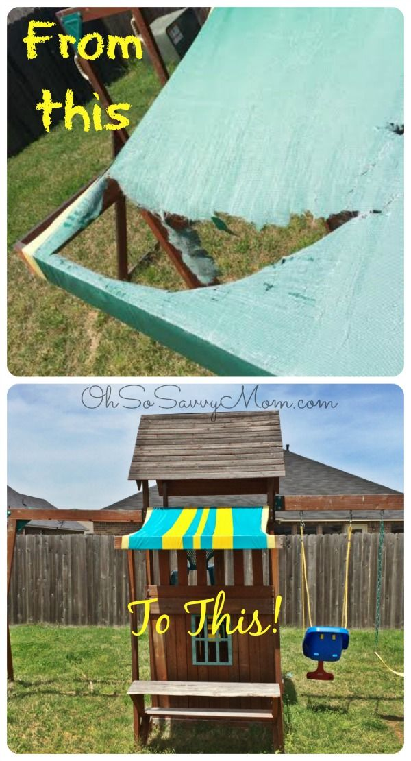 DIY Swing Set Canopy replacement - Fix your swing set canopy for $5 in 20 minutes & Easy DIY Swing Set Canopy Replacement | Diy swing Canopy and Swings