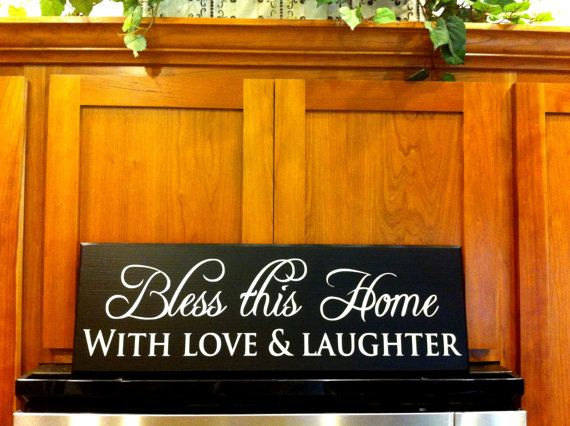 Download Bless this home with love and laughter wood sign wall ...