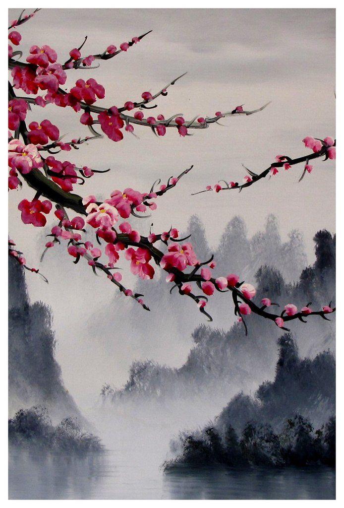 Cherry Blossom Art Print Cherry Blossom Wall Mural Cherry Blossom Japanese Art Set Cherry Blossom Art Blossoms Art Japanese Painting