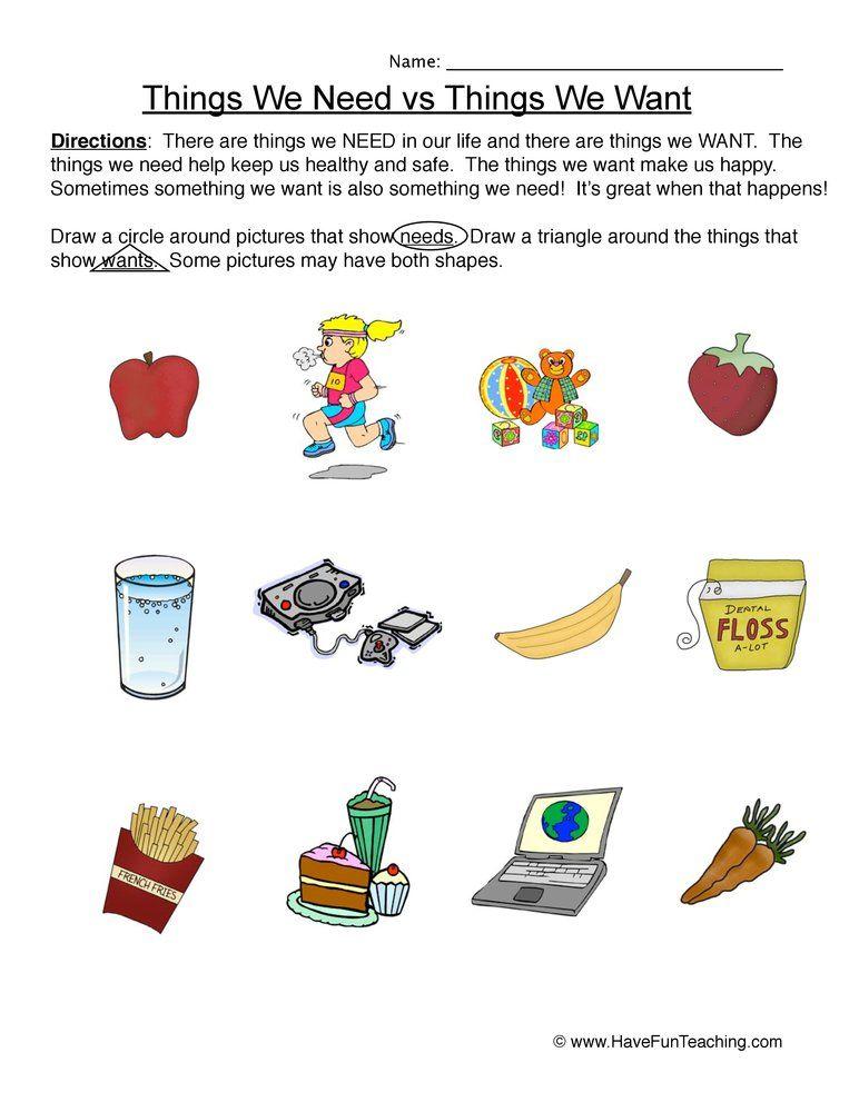 Circling Needs Wants Worksheet Needs And Wants Worksheet Reading Comprehension Worksheets Have Fun Teaching Free printable needsvs wants worksheet
