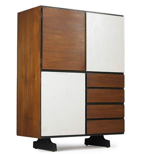 Vladimir Kagan; Leather and Walnut Cabinet for Grosfeld House, 1940s.
