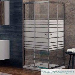 Box doccia angolare con vetro serigrafato 70x70