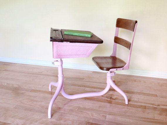 Adorable Vintage School Desk With Attached Chair By