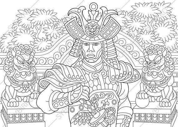 Coloring Page Of Japanese Samurai With Katana Sword Freehand Sketch Drawing For Adult Antistress Book In Zentangle Style