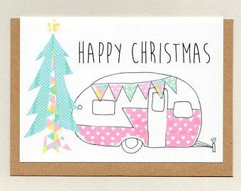 Caravan happy christmas holidays greeting card vintage caravan happy christmas holidays greeting card vintage camper retro holiday pink collage m4hsunfo