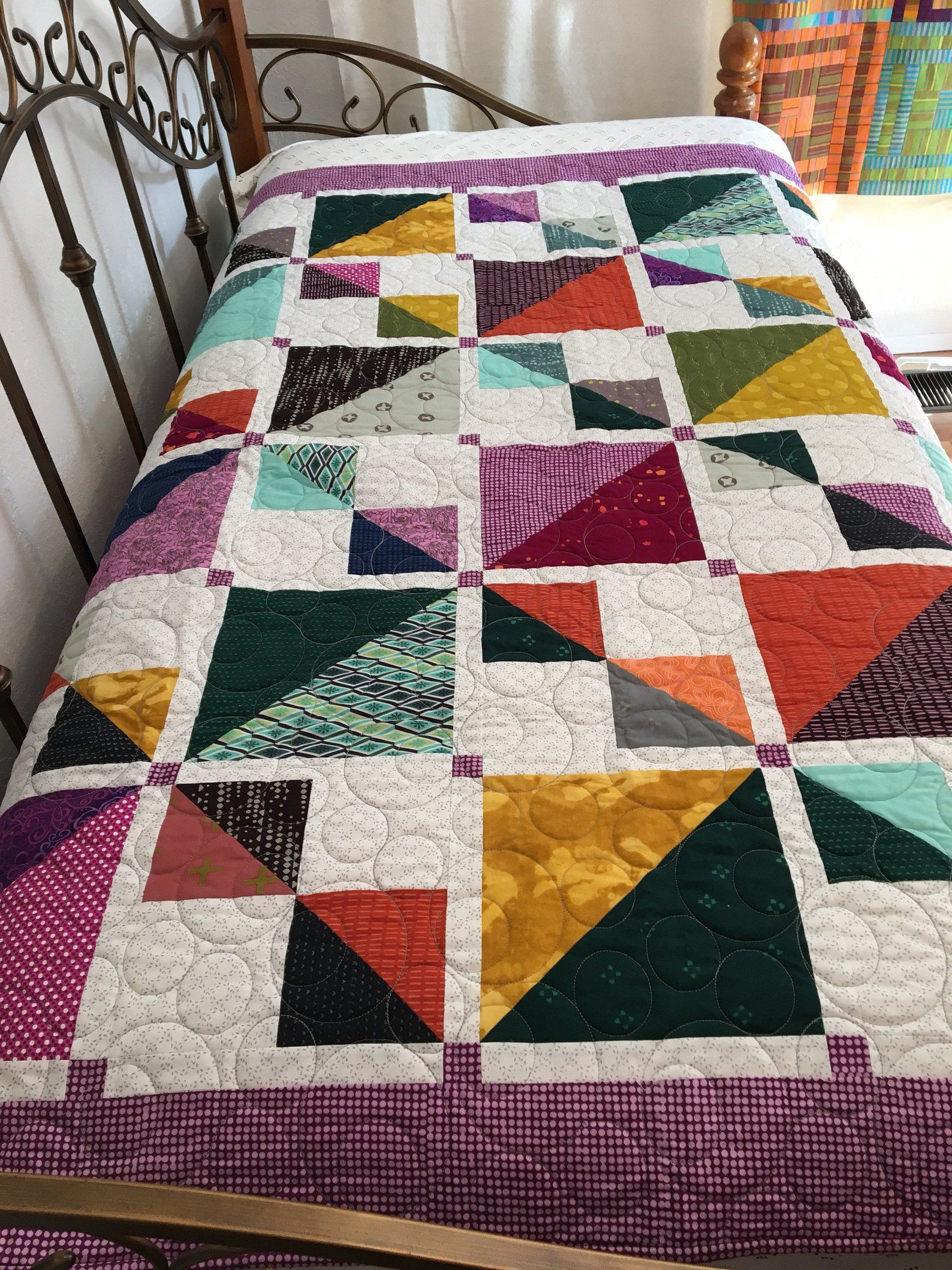 Modern Quilt 58x68 Inches Twin Bed Topper Bed Coverlet Etsy Quilts Modern Quilts Modern Quilting Designs