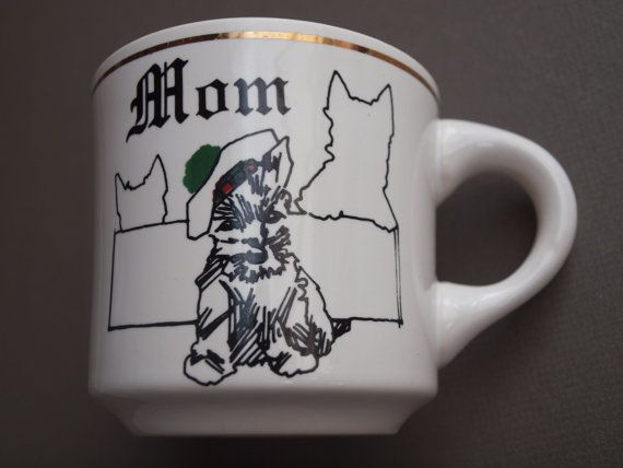 Scottie dog coffee mug Scotty dog mom mug  Scottish Terrier tam o shanter mug gift for mom gift for Scottie lover - great vintage condition