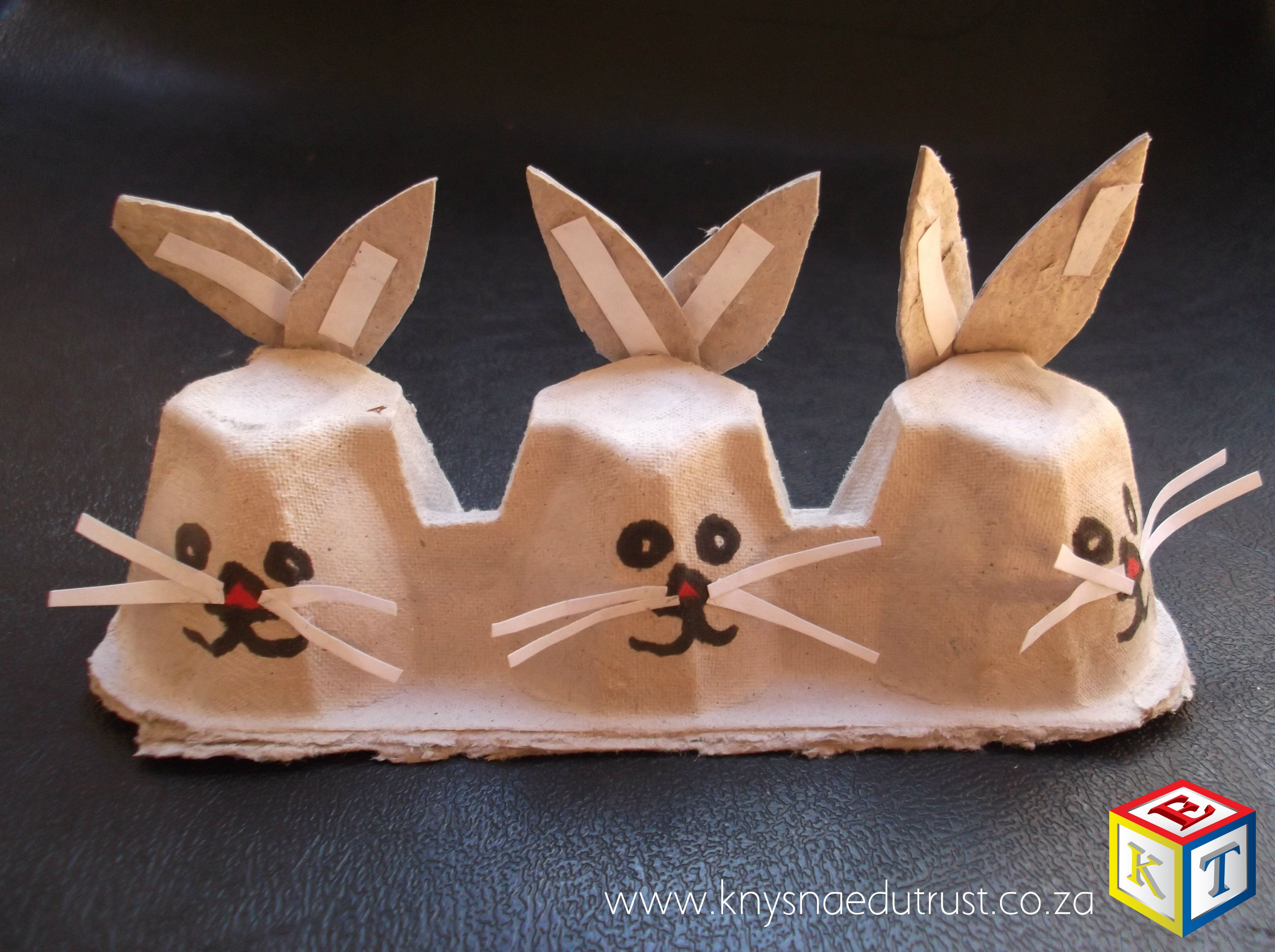 Three Bunnies In A Row Recycle Egg Cartons By Adding Faces Whiskers And Ears How Cute And Clever Perfect For Pr Educational Crafts Easter Crafts Egg Carton