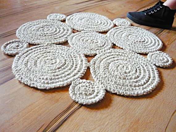 2 Feet Crochet Natural Jute Rope Rug Off White By