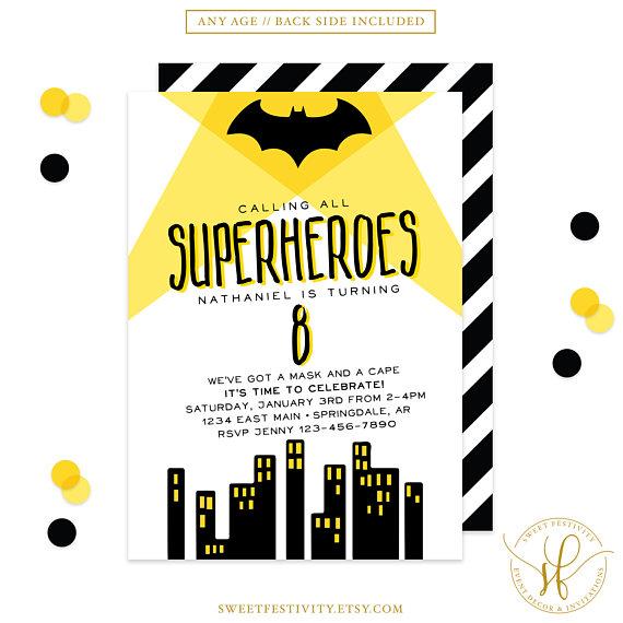 Bat Superhero Invitation Superhero Invitation Superhero