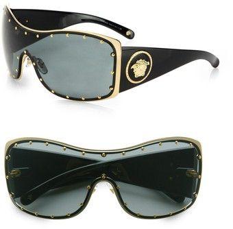 Rock Icon Medusa Studded Shield Sunglasses