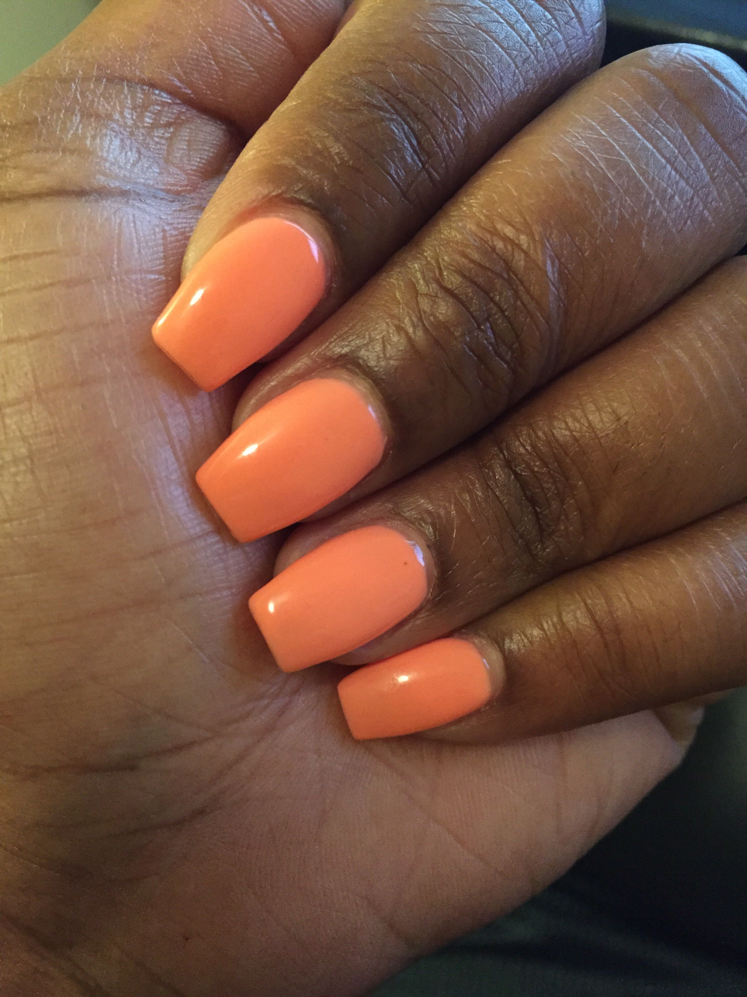 Coral Short Ballerina Shaped Acrylics Acrylic Nails Coffin Short Orange Acrylic Nails Coffin