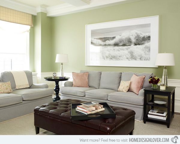 Lovely Grey And Green Living Rooms