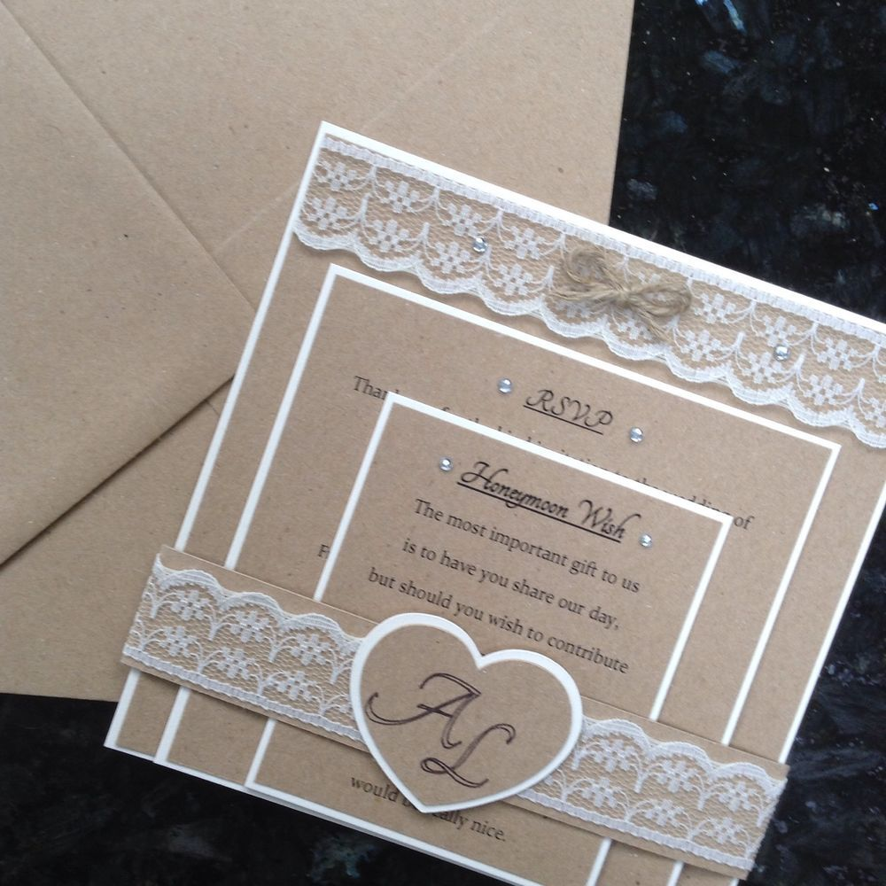 wedding invitation rsvp wording funny%0A Rustic Vintage Wedding Invitation  RSVP  u     Insert  Lace And Diamante Sample