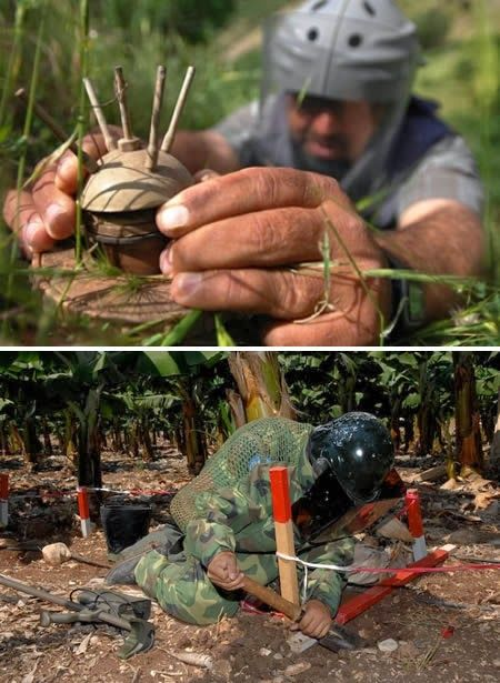 A Deminer is a person who cleans combat mine fields, and is one of the top ten most dangerous jobs in the world.
