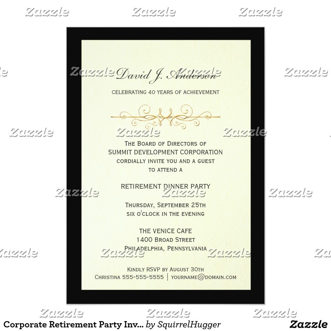 Corporate Retirement Party Invitations | Corporate Party Invitations ...