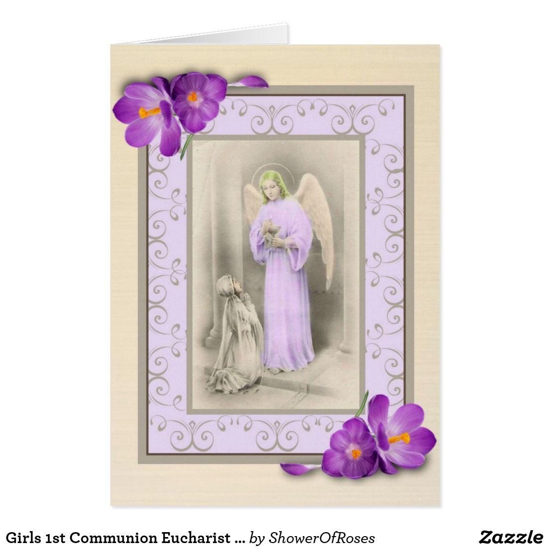 Girls 1st Communion Eucharist Card Verse Inside Communion