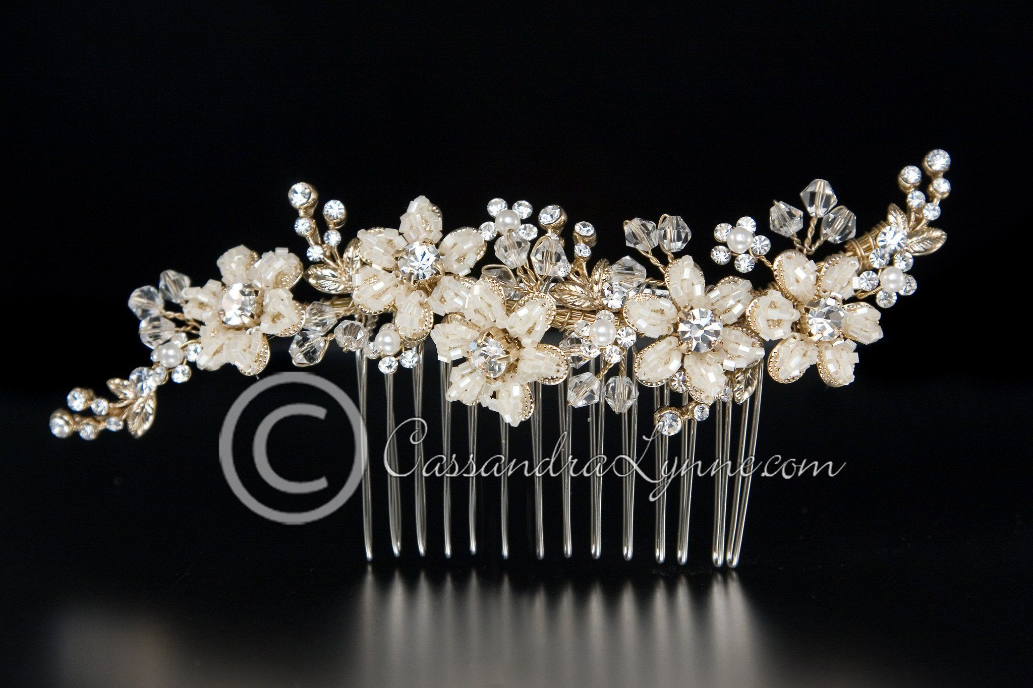 Gold bridal hair comb of seed bead flowers and crystals bridal