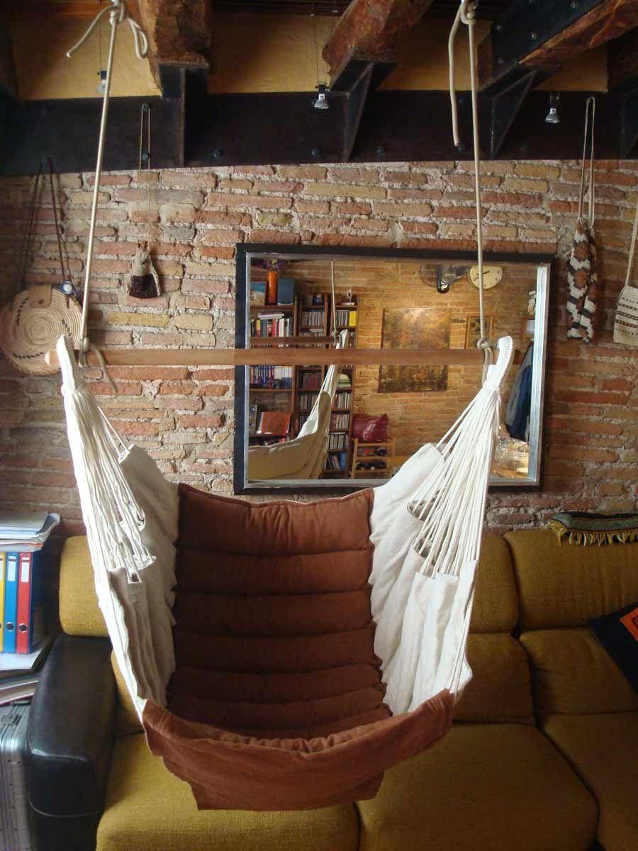 Silla siesta colgada de 2 puntos sillas colgantes for Silla hamaca colgante