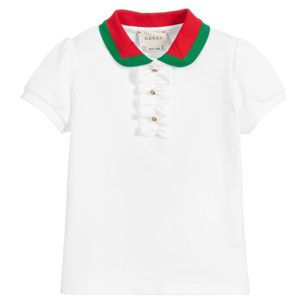 3909b3126 Girls white cotton piqué polo shirt from Italian luxury brand Gucci, with a  classic red and green web knitted collar. It has a ruffled detail on the  placket ...