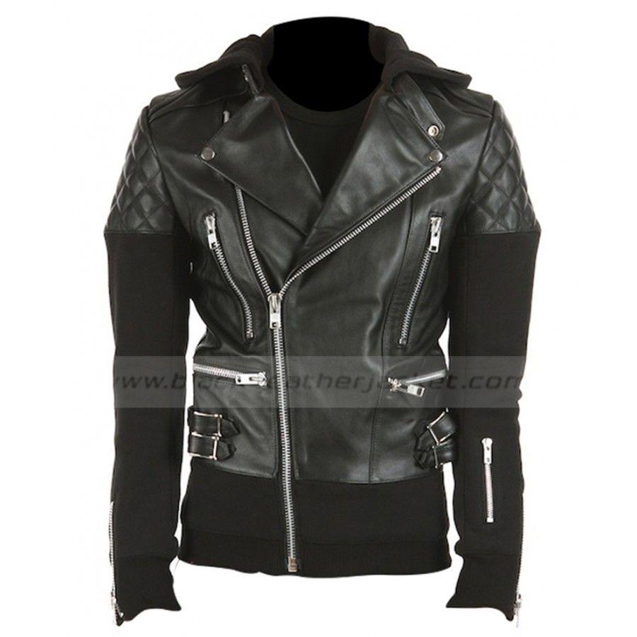 Justin Bieber Hoodie Black Leather Quilted Jacket Leather Jacket With Hood Leather Jacket Men Justin Bieber Hoodie [ 900 x 900 Pixel ]