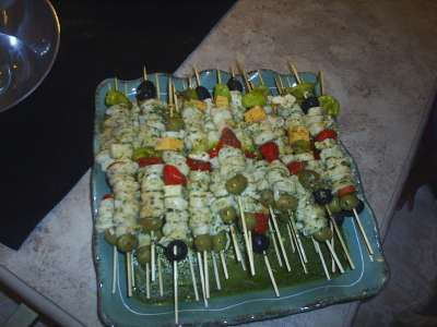 Pesto marinated Itakian Kabobs