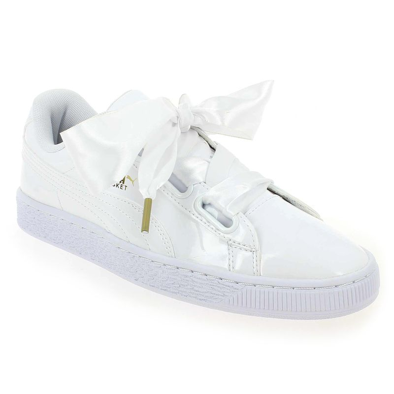 Basket Heart Glitter, Sneakers Basses Femme, Blanc (White-Gold), 39 EUPuma
