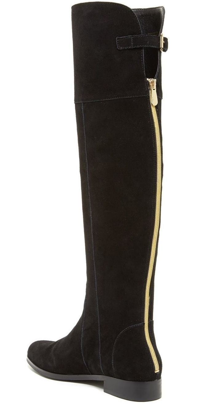 9df5ed28d46 Charles David Reed Black Suede Over The Knee Flat Boots Gold Back Zipper  Detail