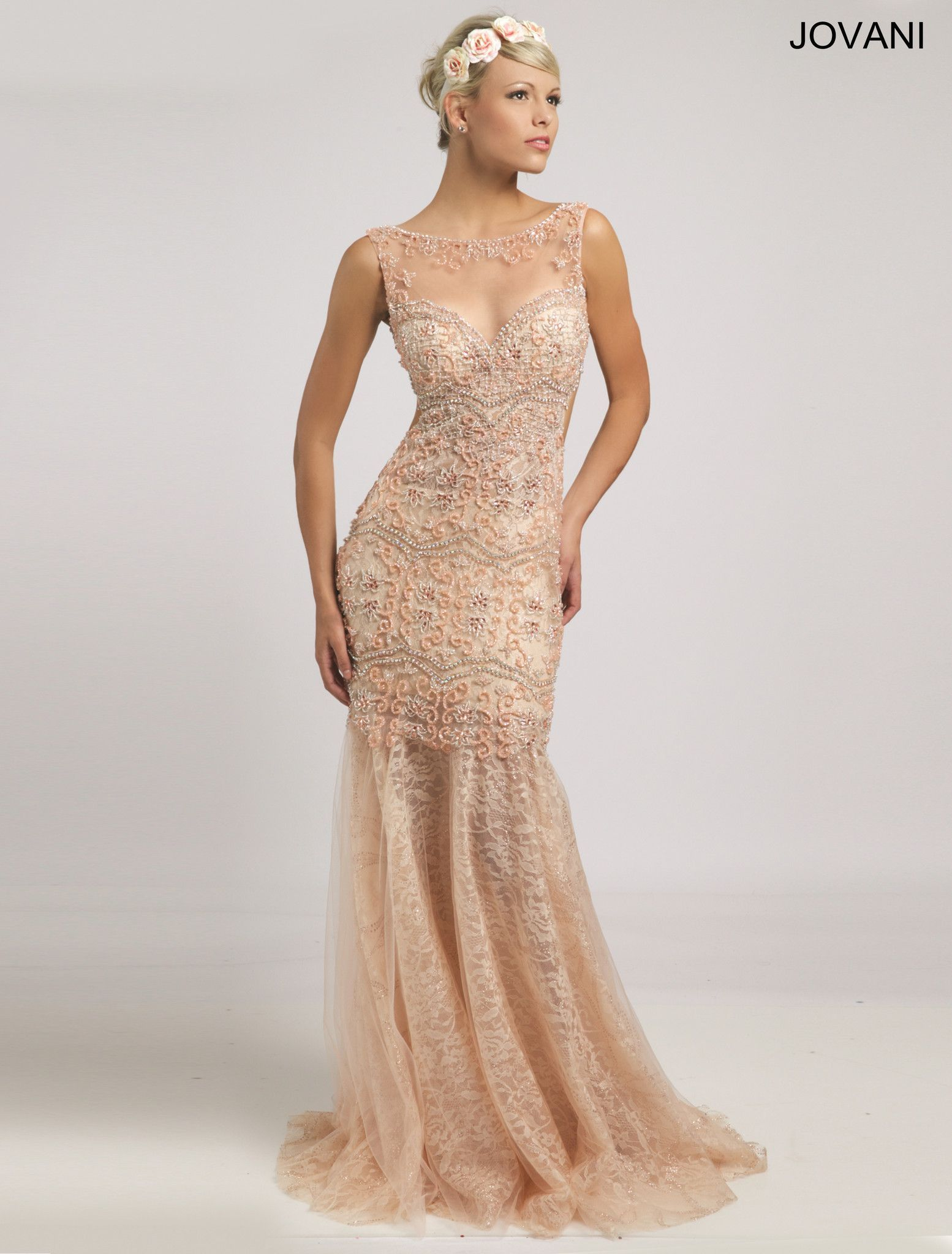 Jovani 98054 BOHO Chic Beaded Lace Prom Wedding Dress Evening Gown ...