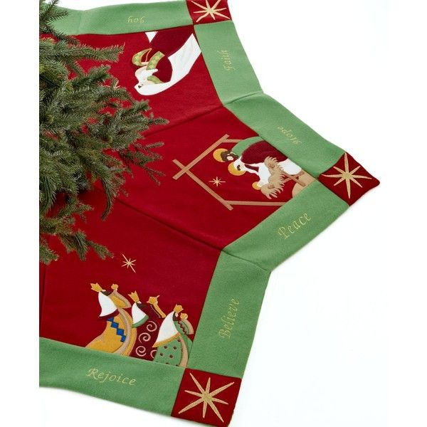 Jabara Nativity Scene Tree Skirt ($50) ❤ liked on Polyvore featuring home, home decor, holiday decorations, christmas tree skirt, star home decor, holiday tree skirts, xmas tree skirt and nativity tree skirt