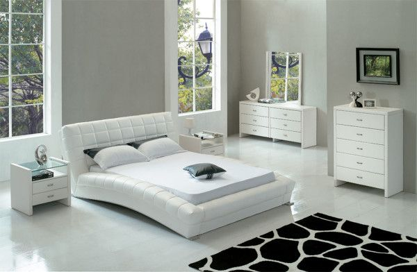 White Leather Bed And Wooden White Bedroom Furniture Set Bedroom