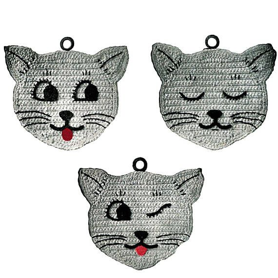 Three Little Kittens Vintage Crochet Pattern, Kitty Potholder Pattern, Cat Pot Holder PDF Pattern Instant Download P101