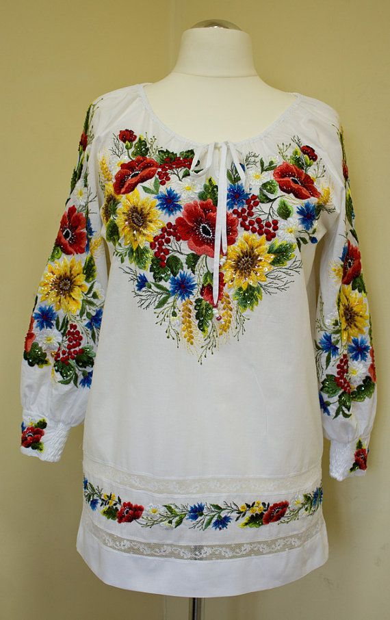 Hand Embroidered White Blouse Sunflowers By Handembroiderykvitka