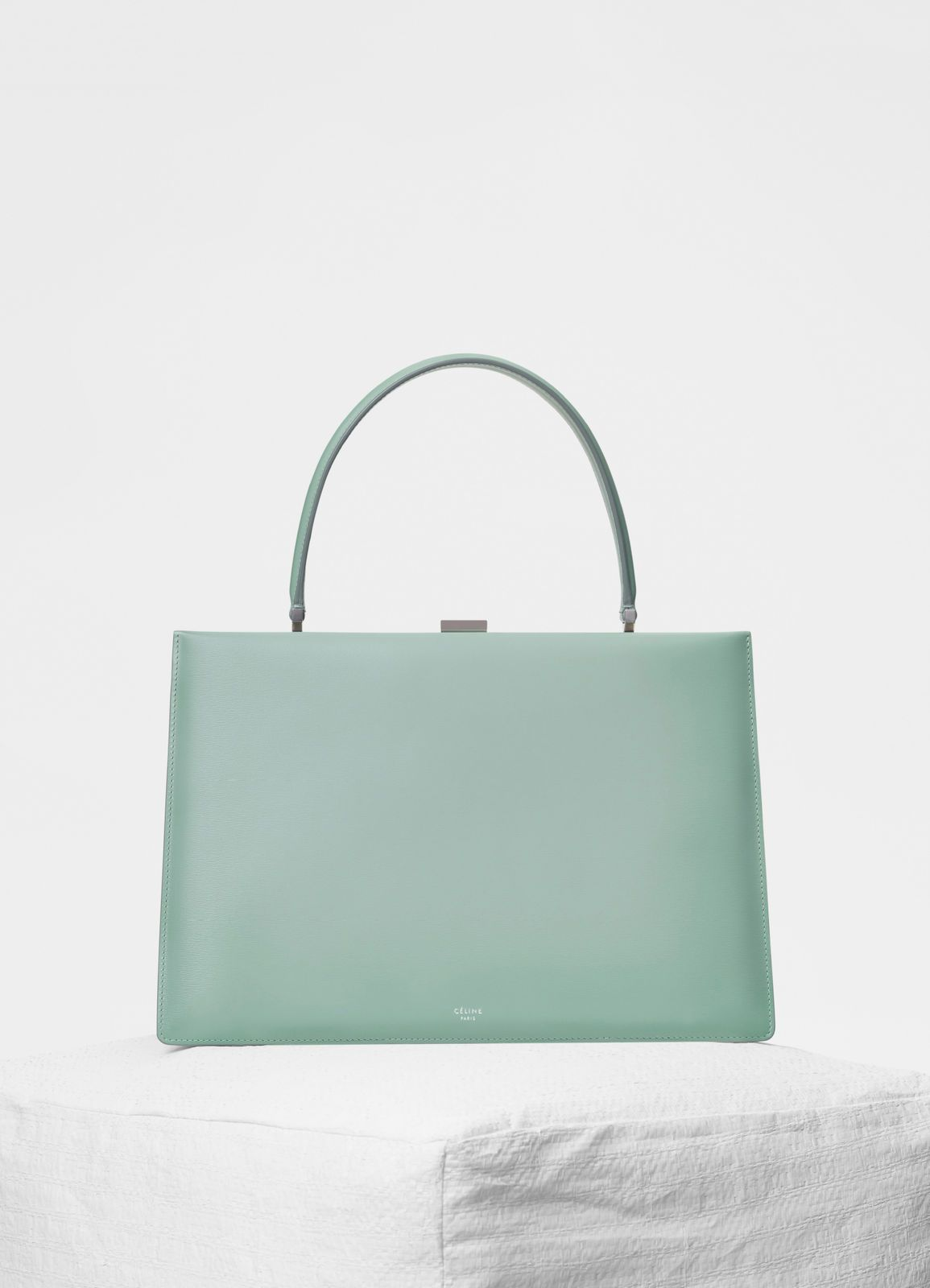 1aaa75c4eb63 Céline - Medium Clasp handbag in ice mint box calfskin with pattina ...
