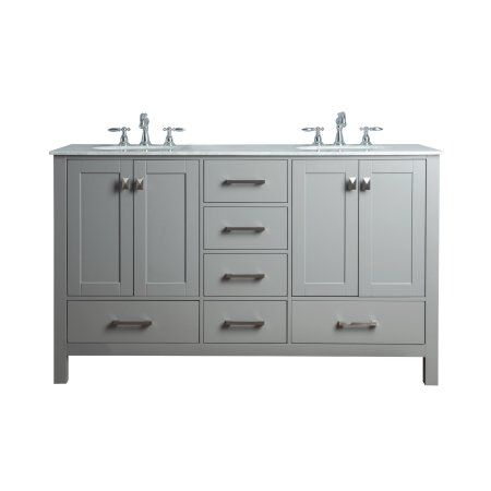 Magnificent Stufurhome 60 Inch Malibu Grey Double Sink Bathroom Vanity Home Interior And Landscaping Ologienasavecom