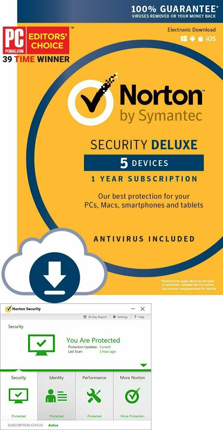 Antivirus And Security 175689 Fast Same Day Sent Via Ebay Message Norton Security Deluxe 5 Devices 1 Year 20 With Images Norton Security Security Norton Internet Security