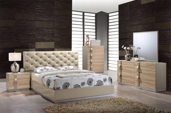 Grace Beige PU 5pc Bedroom Set w/King Bed Global Furniture