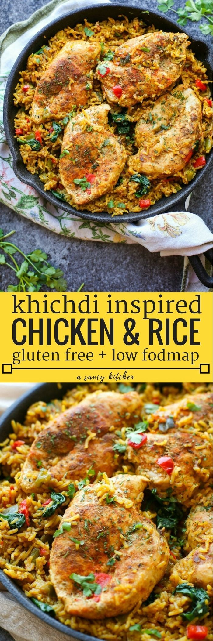 Khichdi Inspired One Pot Low FODMAP Chicken and Rice packed with bell peppers, tomato, ginger & spices | Low FODMAP + Dairy Free