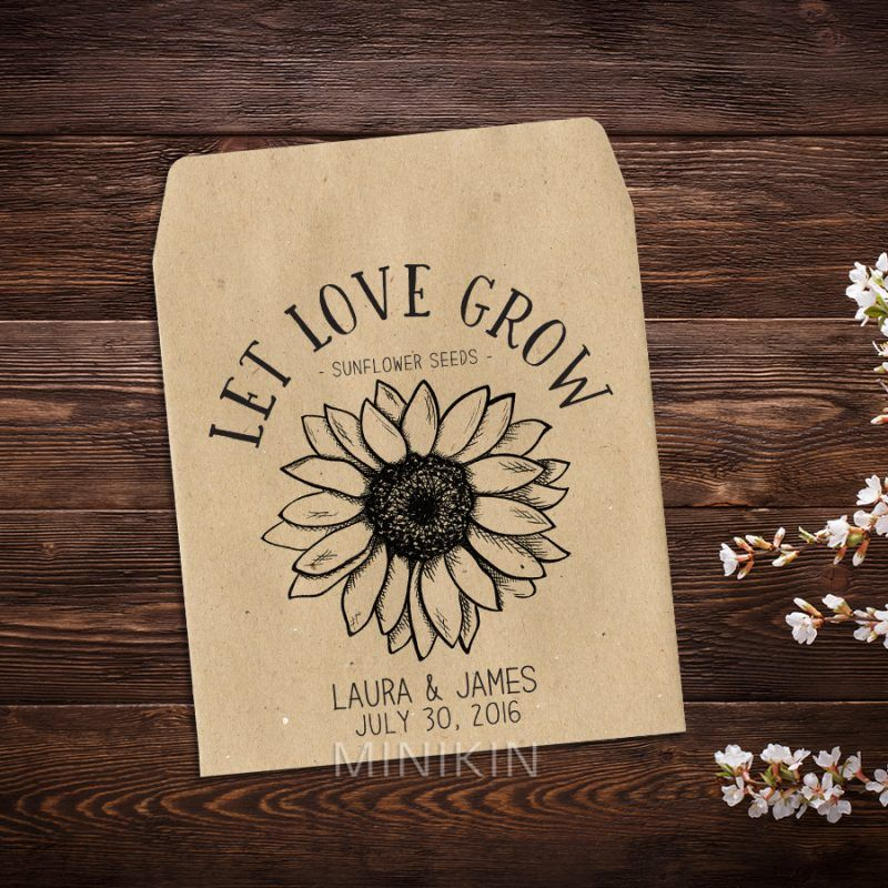 Sunflower Seed Packets Rustic Wedding Favor W A155