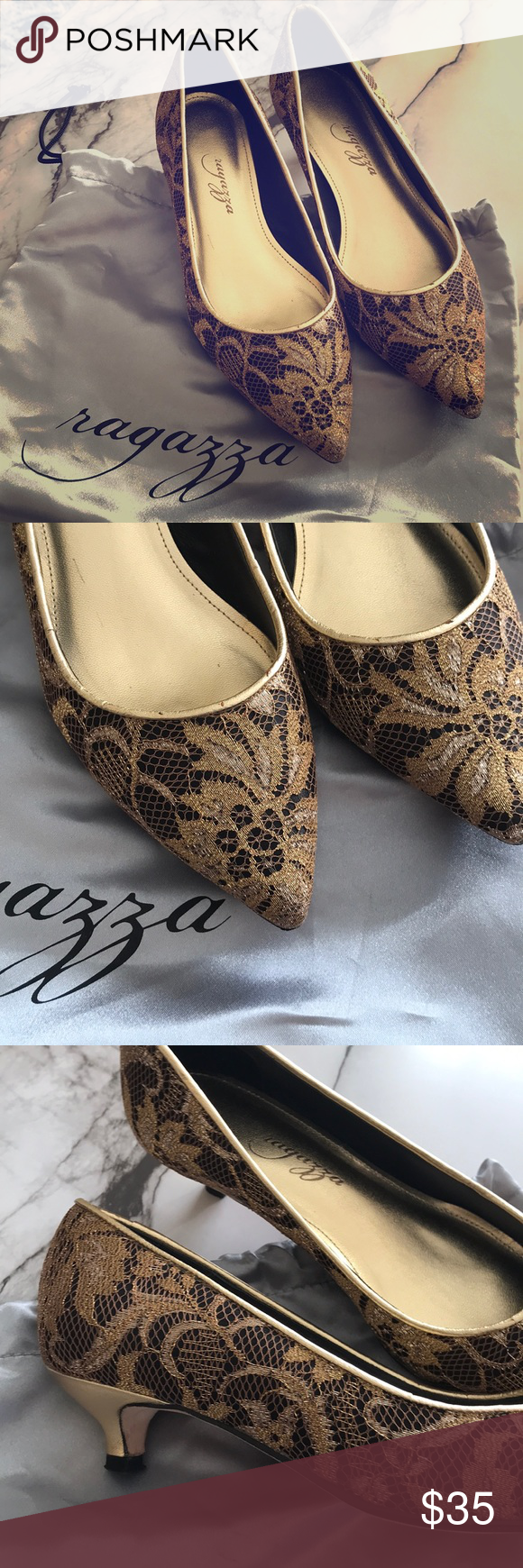 Beautiful Gold And Black Ragazza Kitten Heels Size 6 Brand Ragazza Very Gently Used Worn Once Beautiful Gold Floral Desi Black Kitten Heels Heels Kitten Heels
