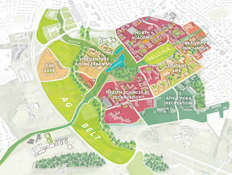 Virginia Polytechnic Institute And State University Campus Master Plan Update Sasaki University Campus Urban Design Diagram Master Plan