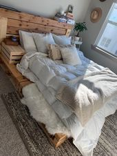 Pallet Bed  Queen Size  Includes Headboard and Platform