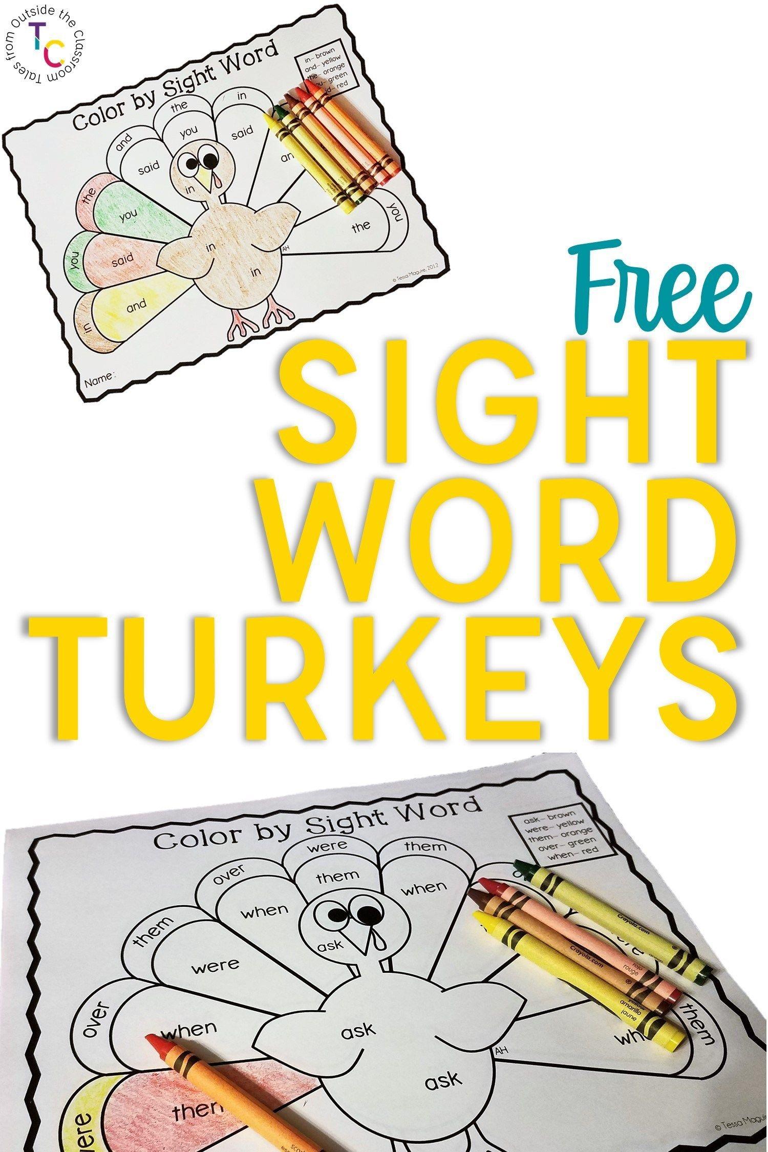 Sight Words Turkeys